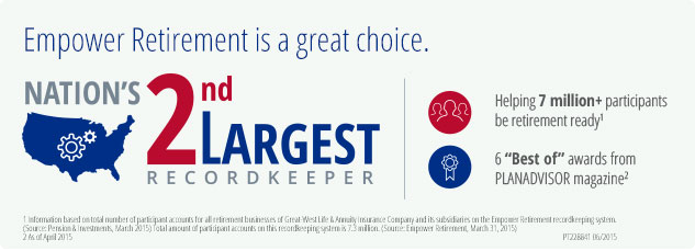 Empower Retirement is a great choice. Nation's 2nd largest recordkeeping.